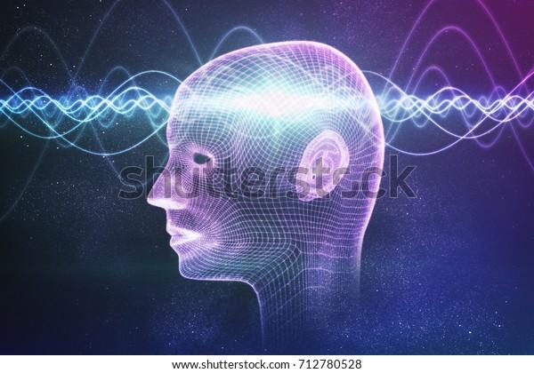 Bewusstsein, Metaphysik oder Konzept der künstlichen Intelligenz. Wellen durchqueren den menschlichen Kopf. 3D-gerenderte Abbildung.