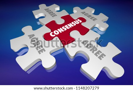 Consensus Agreement All Sides Unity Puzzle Stock Illustration