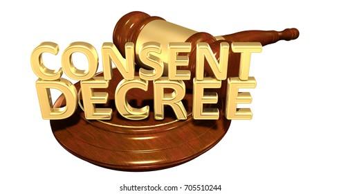 Consent Decree Law 3D Illustration