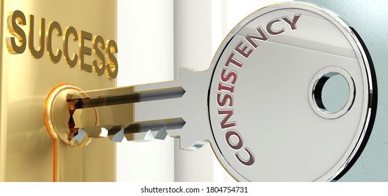 Consistency and success - pictured as word Consistency on a key, to symbolize that Consistency helps achieving success and prosperity in life and business, 3d illustration