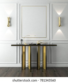 Console, The combination of black and gold is luxury classic style, decorations on white wall with a gold lamp. 3D rendering, 3D illustration