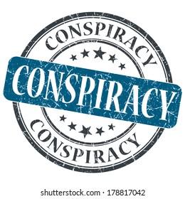 Conspiracy blue grunge round stamp on white background