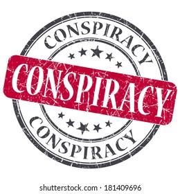 Conspiracy red grunge round stamp on white background