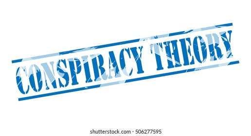 conspiracy theory blue stamp on white background