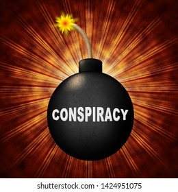 Conspiracy Theory Bomb Representing American Collusion With Russians 3d Illustration. Secret Meetings To Commit Treason Against The Usa