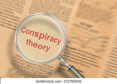 Conspiracy theory. Focus on newspaper news under a magnifying glass