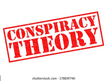 CONSPIRACY THEORY red Rubber Stamp over a white background.