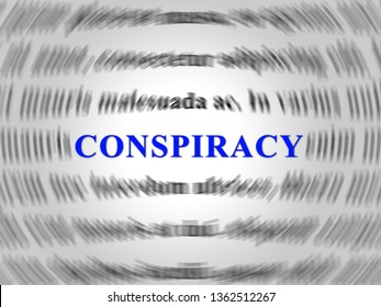 Conspiracy Theory Word Representing American Collusion With Russians 3d Illustration. Secret Meetings To Commit Treason Against The Usa