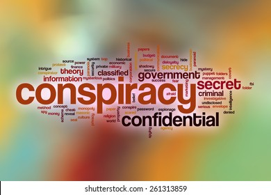 Conspiracy word cloud concept with abstract background