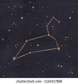 Constellation of Leo. Zodiac sign. Gold ink on dark blue background.