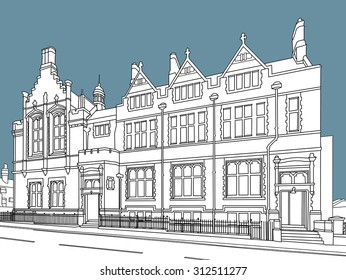 Constructed line drawing of the Old County Court building, Warrington, England