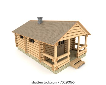 Construction of bath in a village 3D illustration isolated on white background