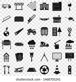 Construction in city icons set. Simple style of 36 construction in city icons for web for any design