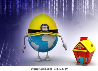 construction concept around the globe