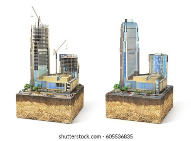 Construction concept. Skyscraper in process of construction and ready on the sliced patch of earth. 3d illustration
