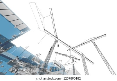 Construction crane. Building crane on the Architecture background. Perspective 3d Wireframe of building.