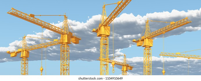 Construction cranes against a blue sky with clouds Computer generated 3D illustration