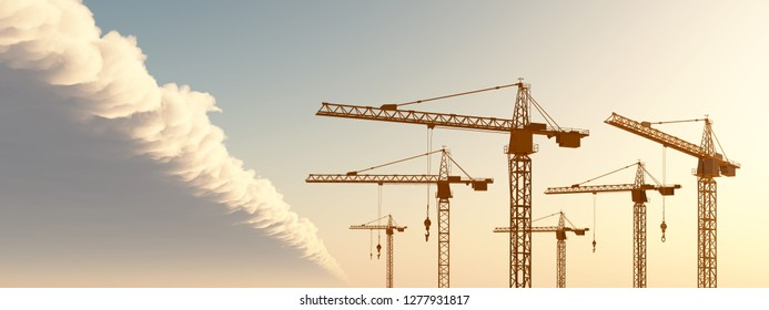 Construction cranes in front of a cloudscape Computer generated 3D illustration