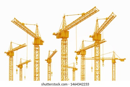 Construction cranes isolated on white background Computer generated 3D illustration