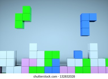 Construction of the cube on a blue background