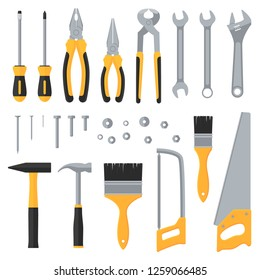 Construction hardware industrial tools flat icons