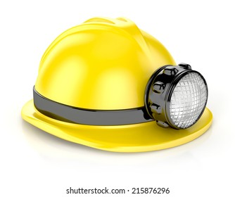 construction helmet with headlamp. 3d illustration isolated on white