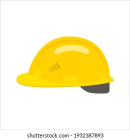 Construction helmet icon. yellow hard hat worker safety isolated on white background. can be used helmet icon for web and mobile phone apps. illustration in flat style