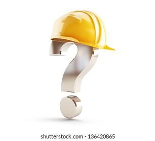 construction helmet question mark