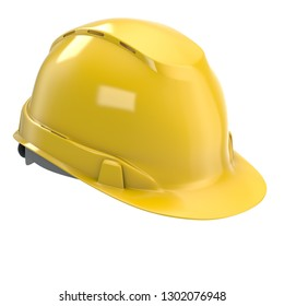 construction helmet yellow on an isolated white background. 3d illustration