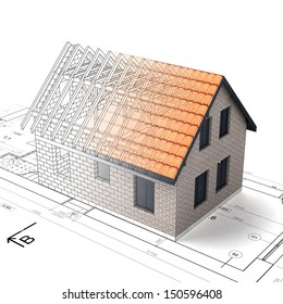 construction house plan design blend transition illustration