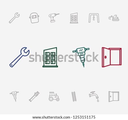 construction icon set drill stepladder 450w 1253151175 construction icon set drill stepladder sliding stock illustration