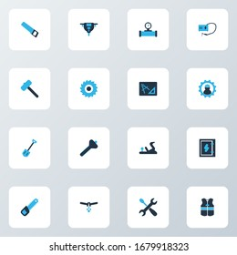 Construction icons colored set with flowing pipe, hammer for tiles, shovel and other brazing elements. Isolated illustration construction icons.