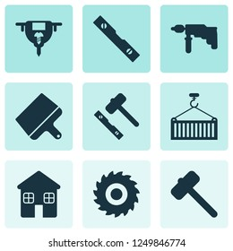 Construction icons set with conversation level, auger, milling cutter and other scraper elements. Isolated  illustration construction icons.