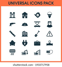 Construction icons set with shovel, roulette, trolley and other manometer elements. Isolated illustration construction icons.