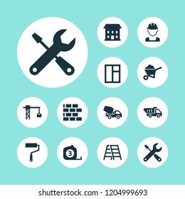Construction icons set with stepladder, builder, brickwork and other truck elements. Isolated  illustration construction icons.