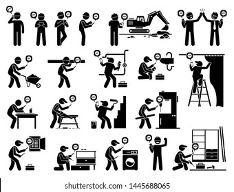 Construction and industrial worker using mobile app with smartphone. Cliparts illustration depict construction worker, handyman, technician, and industry labors holding a smart phone to do their jobs.