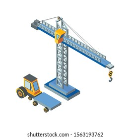 Construction machinery, lifting crane working isolated icon raster. Industry equipment, mechanical devices, automobile with cargo transportation place