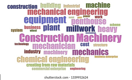 Construction Machinery Tag Cloud Neatly Isolated
