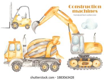 Construction machines with excavator, forklift, concrete mixer truck, concrete truck. Watercolor hand drawn clipart