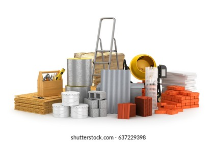 Construction materials, isolated on a white background. 3D illustration
