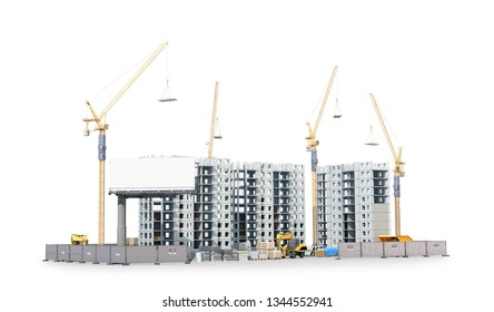 construction of a new residential complex, the territory of building materials. 3d illustration