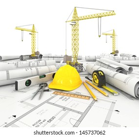 construction plan with a crane and other building fixtures