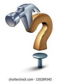 Construction questions ad building codes uncertainty in the home builder and renovation industry with a hammer shaped as a question mark floating over a nail on a white background.