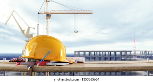 Construction safety equipment with cranes in front of the unfinished building 3D Rendering, 3D Illustration