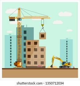 Construction site with equipment. Crane builds a house. The excavator unloads the sand. Construction equipment. Flat design.