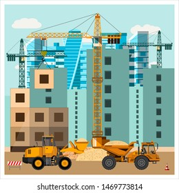 Construction site with equipment. Cranes build houses. Grader's loading sand into the truck. Construction equipment. Flat design.