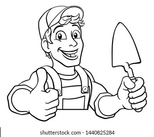 Construction site handyman builder man holding a trowel tool cartoon mascot. Peeking over a sign and giving a thumbs up