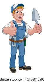 Construction site handyman builder man holding a trowel tool cartoon mascot.Giving a thumbs up