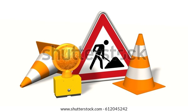 Construction site, construction site sign with pylons   and warning light isolated on white - 3d rendering