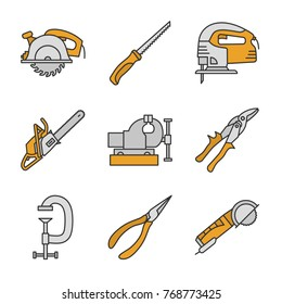 Construction tools color icons set. Circular and pad saws, electric jigsaw, tin snips, g-clamp, pointed pliers, angle grinder machine. Isolated raster illustrations